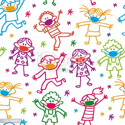 Vector Illustration Seamless Pattern of a Happy Cartoon Party with Doodle Kids With Facial Masks