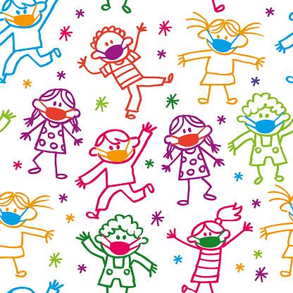 Happy Cartoon Doodle Kids With Facial Masks