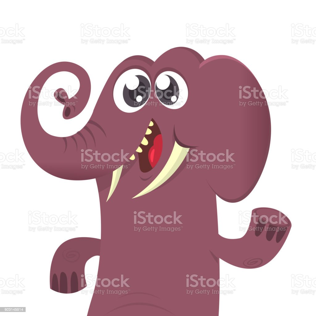 Happy cartoon elephant vector illustration. Design for print or children book vector art illustration