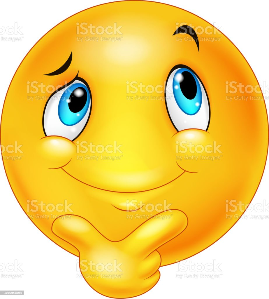 Happy cartoon emoticon thinking vector art illustration