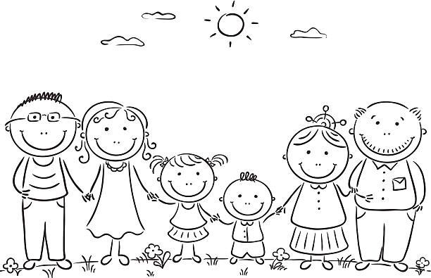 happy cartoon famile with two children and grandparents - old man standing drawings stock illustrations, clip art, cartoons, & icons