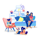 Happy Cartoon Family at Home Flat Vector Illustration. Father and Daughter Watching Video on Laptop Sitting on Sofa. Little Girl on Armchair Reading Book to Cat. Eldest Female Child Using Tablet