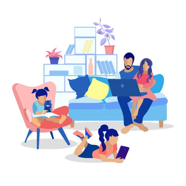 illustrazioni stock, clip art, cartoni animati e icone di tendenza di happy cartoon family at home flat illustration - young digital