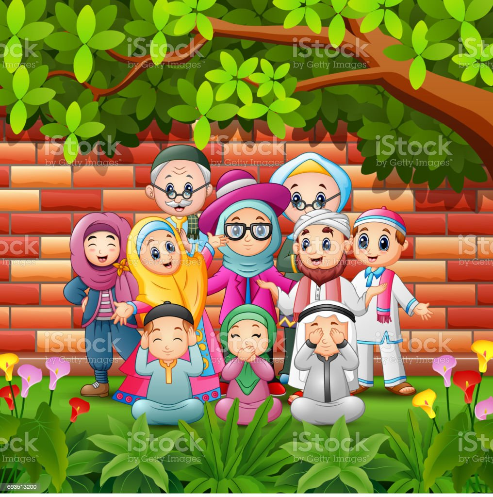Happy cartoon family celebrate eid mubarak with brick wall background vector art illustration