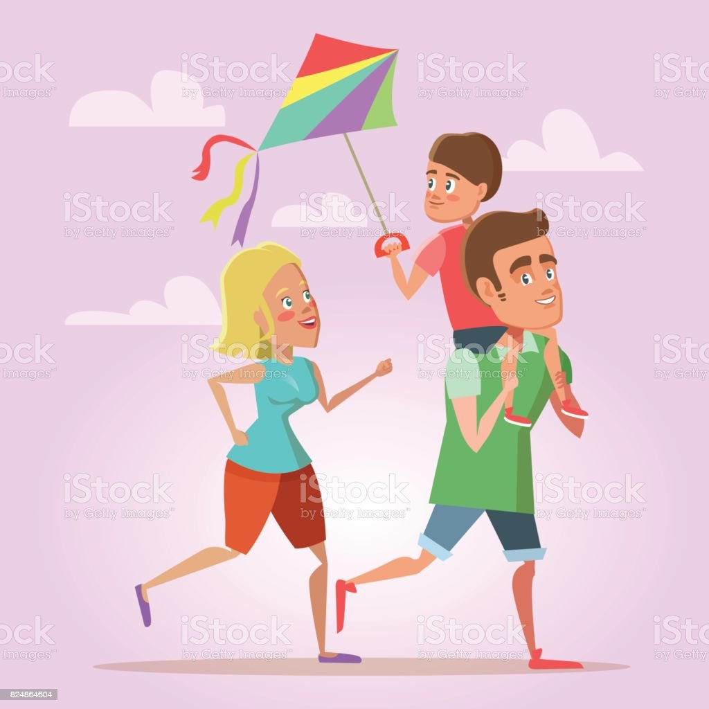 A Kite カイト 幸せな漫画家族の父ママと息子カイトを飛行します夏のお楽しみ