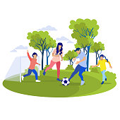 Happy Cartoon Family Playing Football on Field. Vector Parents and Children Having Good Time Together. Son Protects Goal, Father Kicks Ball and Mother with Daughter Run near Flat Illustration
