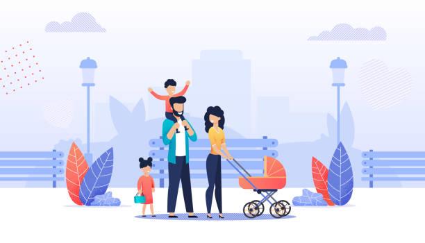 ilustrações de stock, clip art, desenhos animados e ícones de happy cartoon family walking in city park together - tronco nu