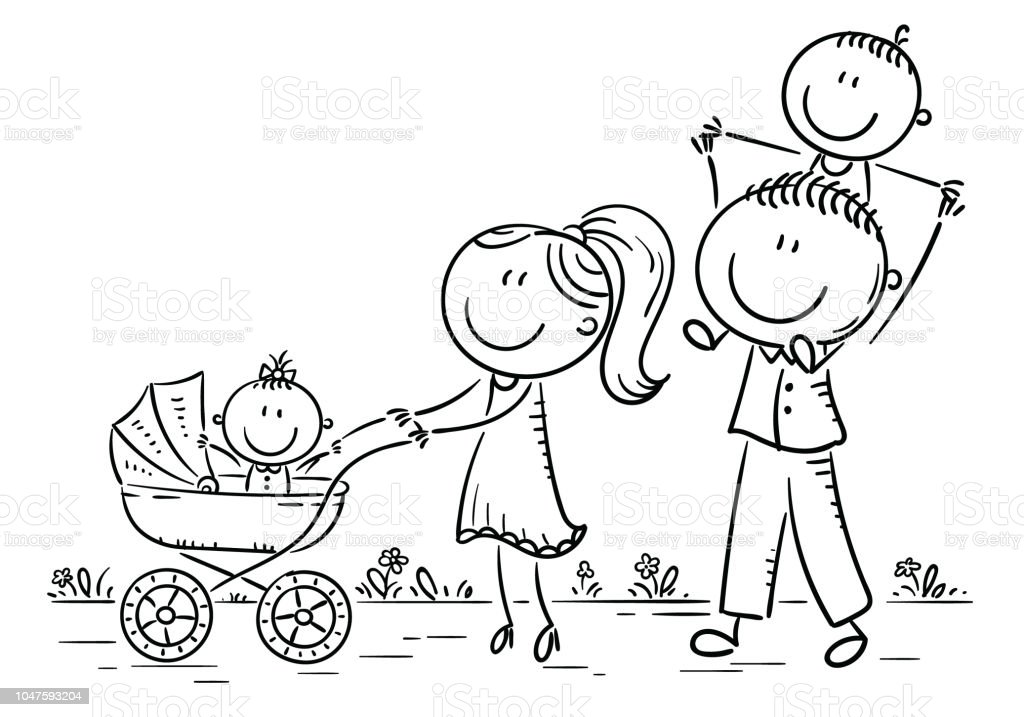Happy Cartoon Family With Two Children Walking Outdoors Outline Stock Illustration Download Image Now Istock