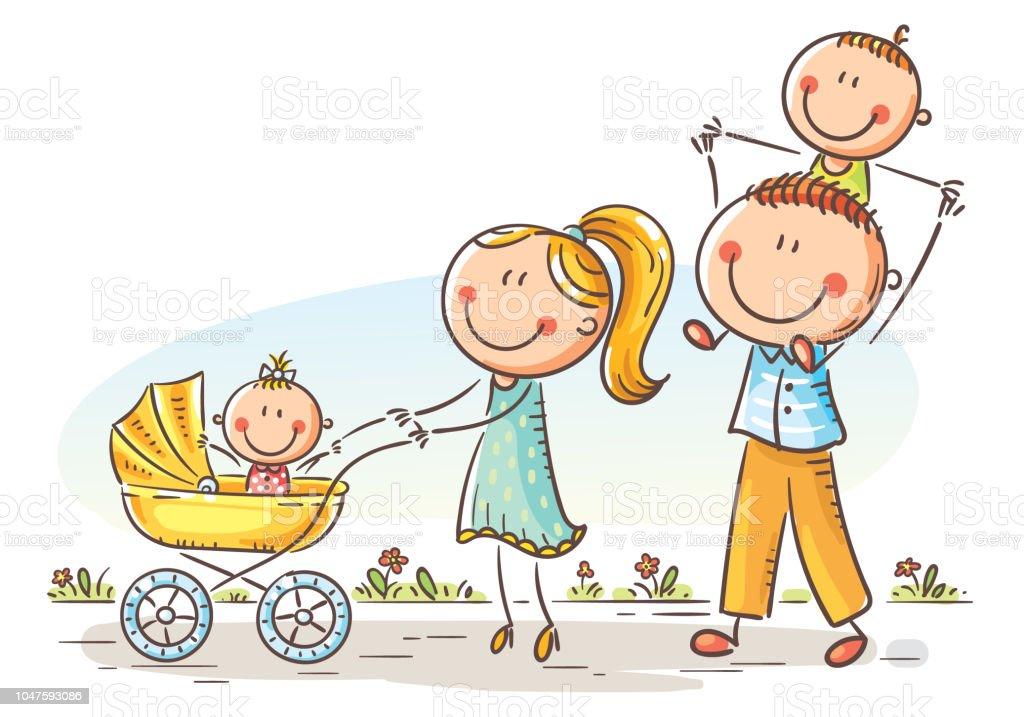 Vetor De Família Feliz Dos Desenhos Animados Com Dois
