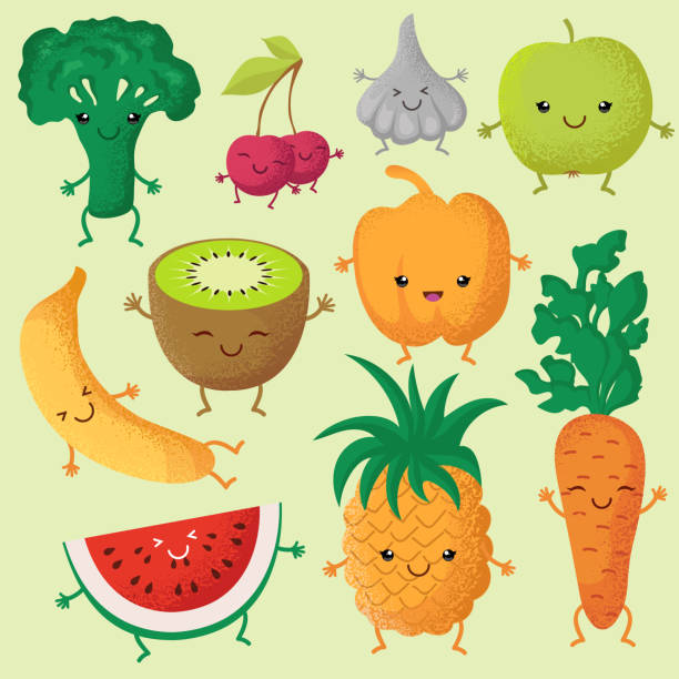 ilustrações de stock, clip art, desenhos animados e ícones de happy cartoon fruits and garden vegetables with funny cute faces vector characters - kiwi