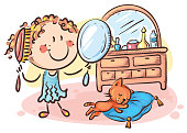Happy cartoon girl combing her hair, vector illustration