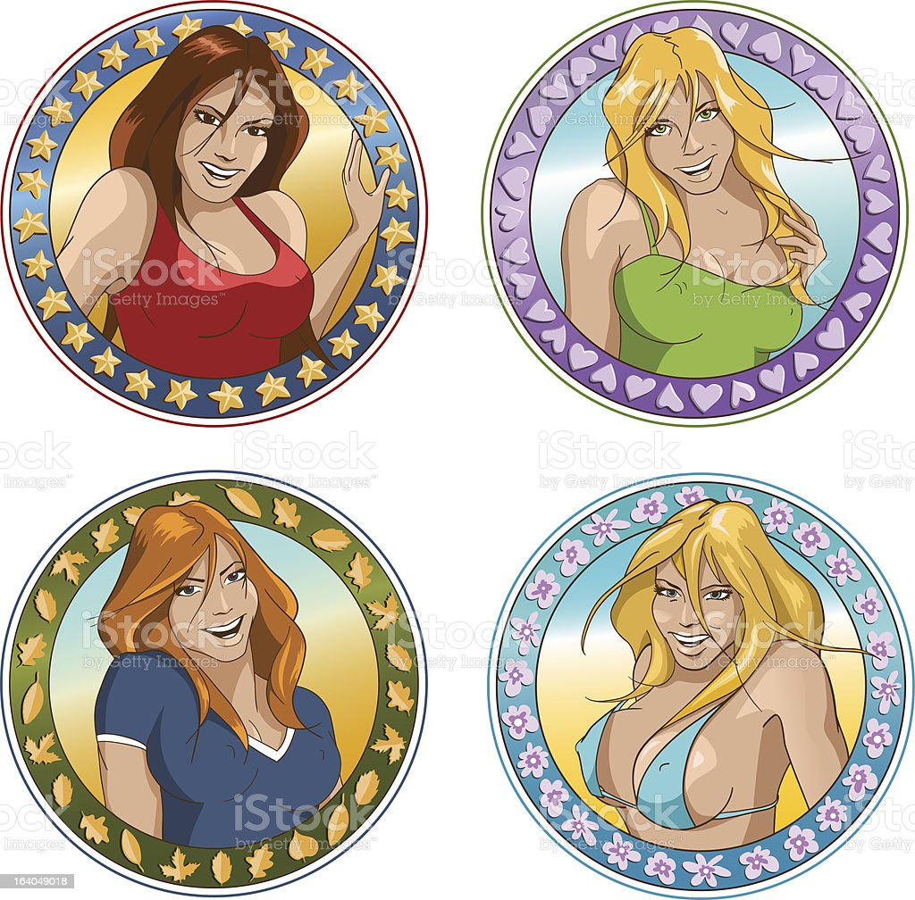 Happy cartoon girls royalty-free happy cartoon girls stock vector art & more images of adult