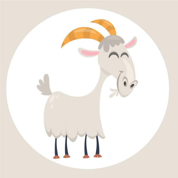 Glücklich Cartoon Ziege. Clip Art Vektorgrafik mit einfachen Steigungen – Vektorgrafik