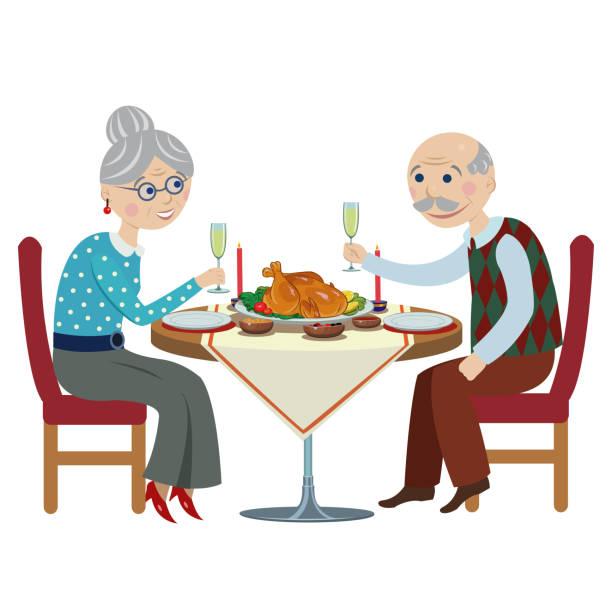 お祝いテーブルで幸せな漫画祖父母 - 老夫婦点のイラスト素材/クリップアート素材/マンガ素材/アイコン素材
