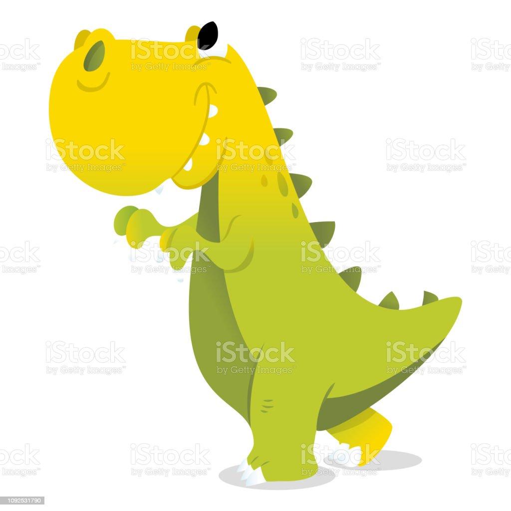 Ilustración De Feliz De Dibujos Animados Verde Trex Dinosaurio Y Más