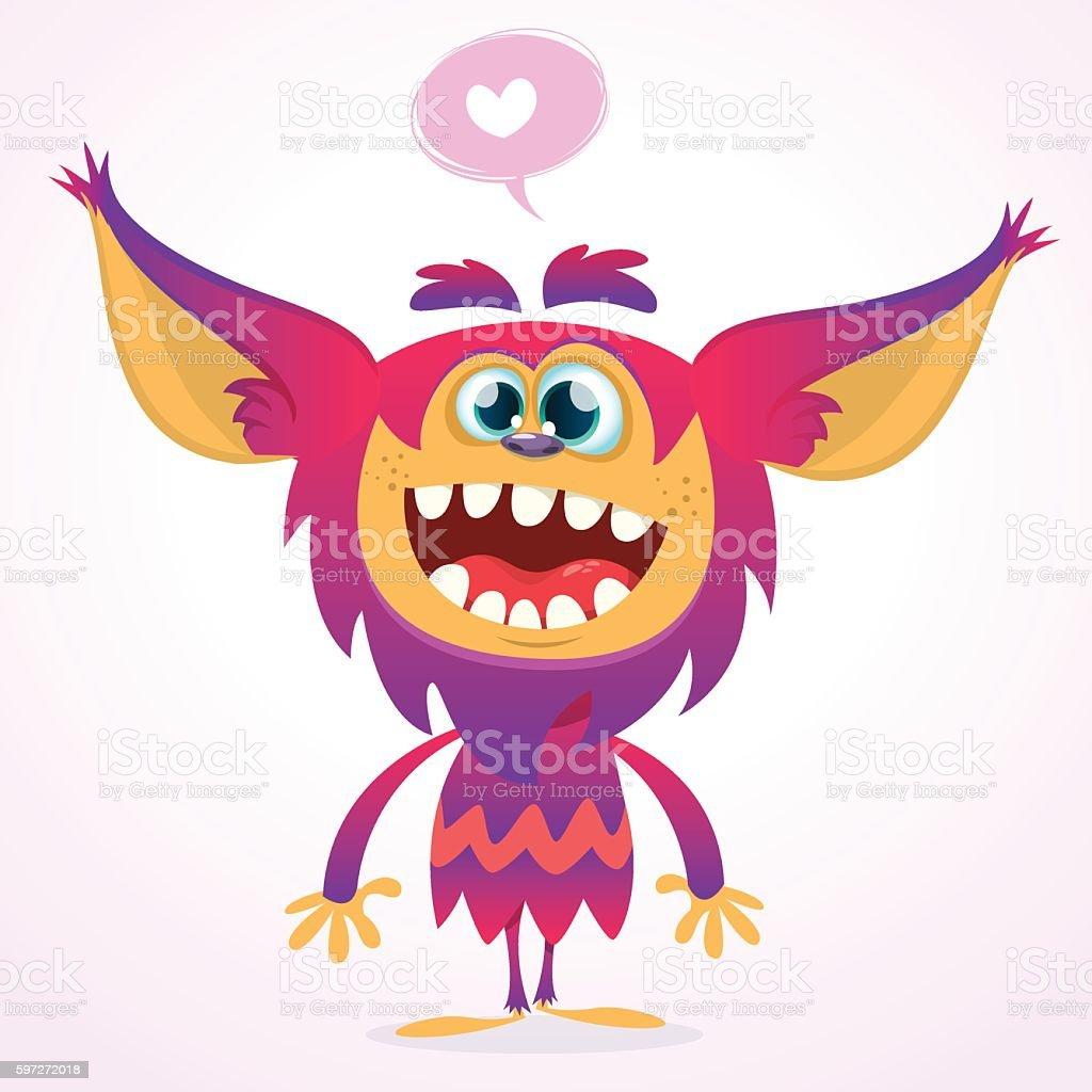Happy cartoon gremlin monster in love. happy cartoon gremlin monster in love – cliparts vectoriels et plus d'images de bonheur libre de droits