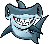 Happy cartoon hammerhead shark character