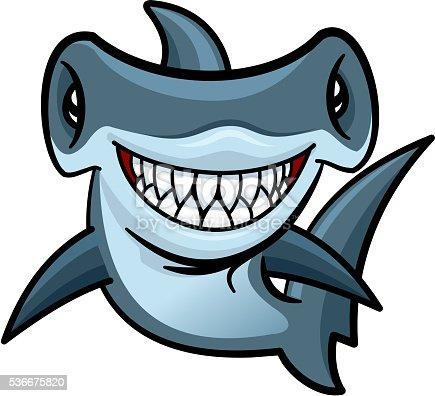Happy Cartoon Hammerhead Shark Character Stock Vector Art ...