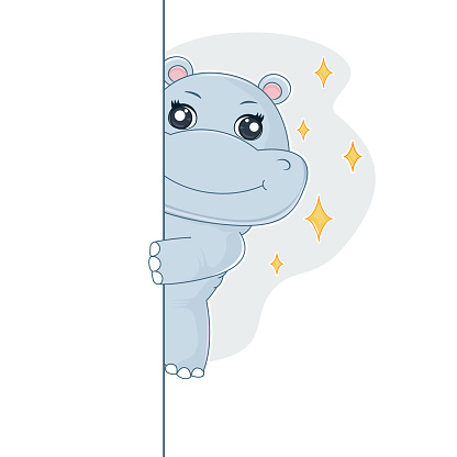 Happy cartoon hippo peeking out. Graphic element for kids, greeting card, cover, sticker and poster.