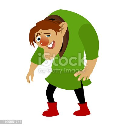 Happy cartoon hunchback. Design for print, mascot, emblem, t-shirt, sticker. Vectoral Illustration. White Background Isolated