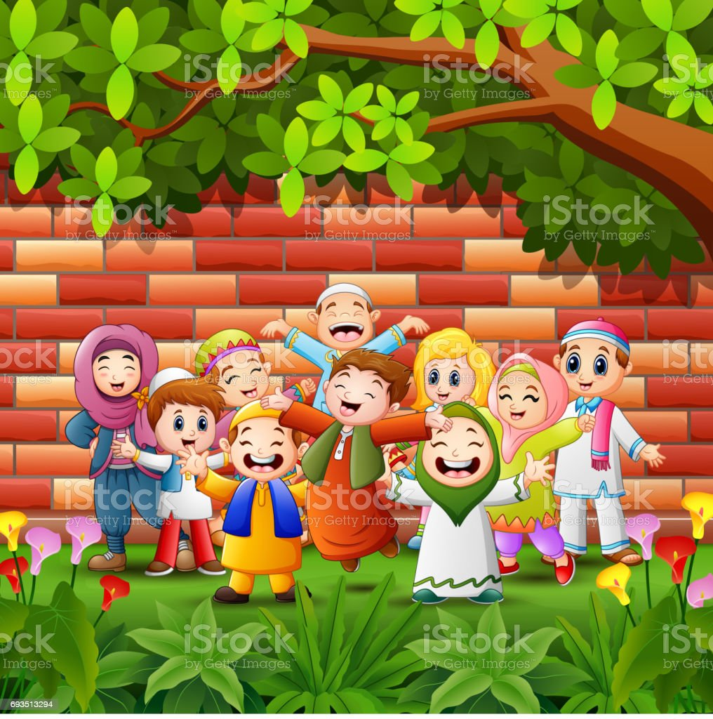 Happy cartoon kid celebrate eid mubarak with brick wall background vector art illustration