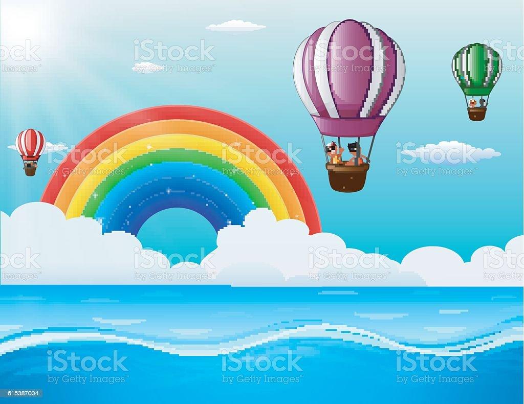 happy cartoon kids flying in a air balloon in ocean stock