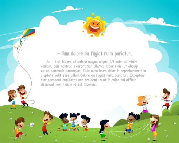 ilustrações, clipart, desenhos animados e ícones de crianças desenhos animados feliz se divertindo juntos no parque infantil - exteriores de escola