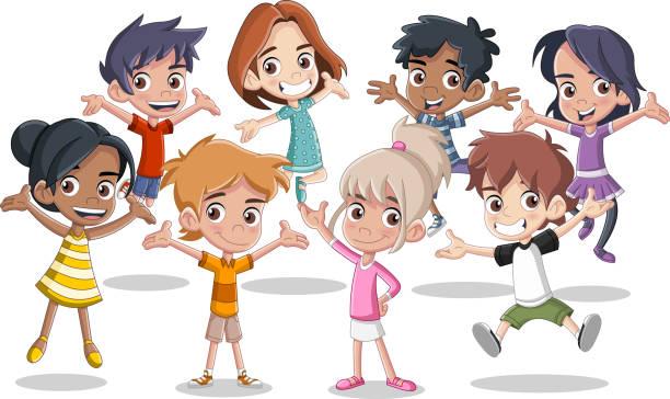 happy cartoon kids jumping. - jumping stock illustrations