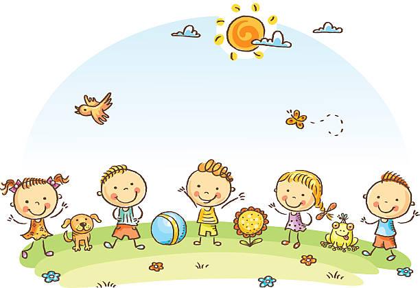 Šťastný karikatura děti venku na zelené louce vektorové umění ilustrace