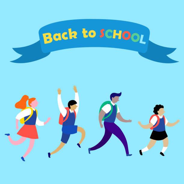 stockillustraties, clipart, cartoons en iconen met happy cartoon kinderen lopen naar school. leerlingen verschillende geslacht en nationaliteiten naar school gaan. - schooluniform