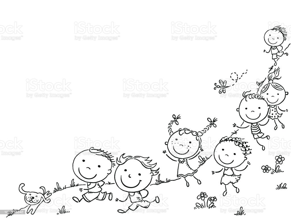 Happy Cartoon Kids Running Vector Frame With A Copy Space Stock ...