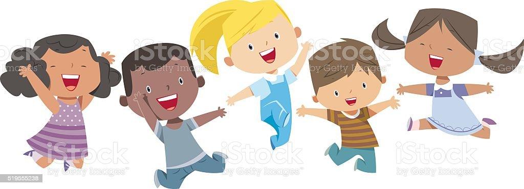 happy cartoon kids royalty free stockvectorbeelden