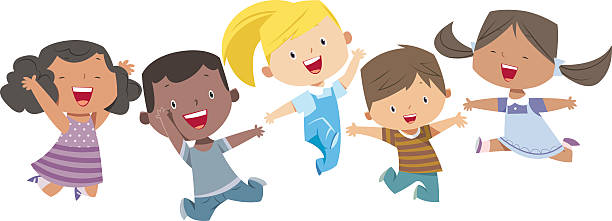 happy cartoon kids - cartoon kids stock illustrations, clip art, cartoons, & icons