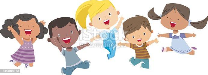 Happy Cartoon Kids Stock Vector Art & More Images of Baby ...