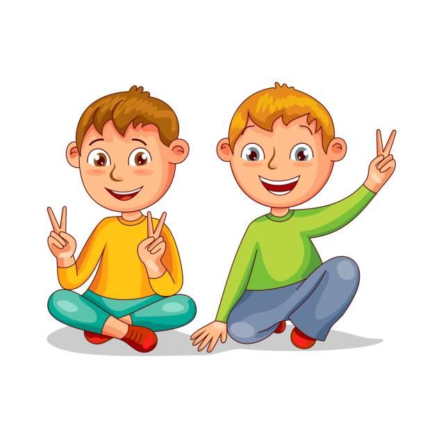 Happy Cartoon Kids Vector Art Illustration