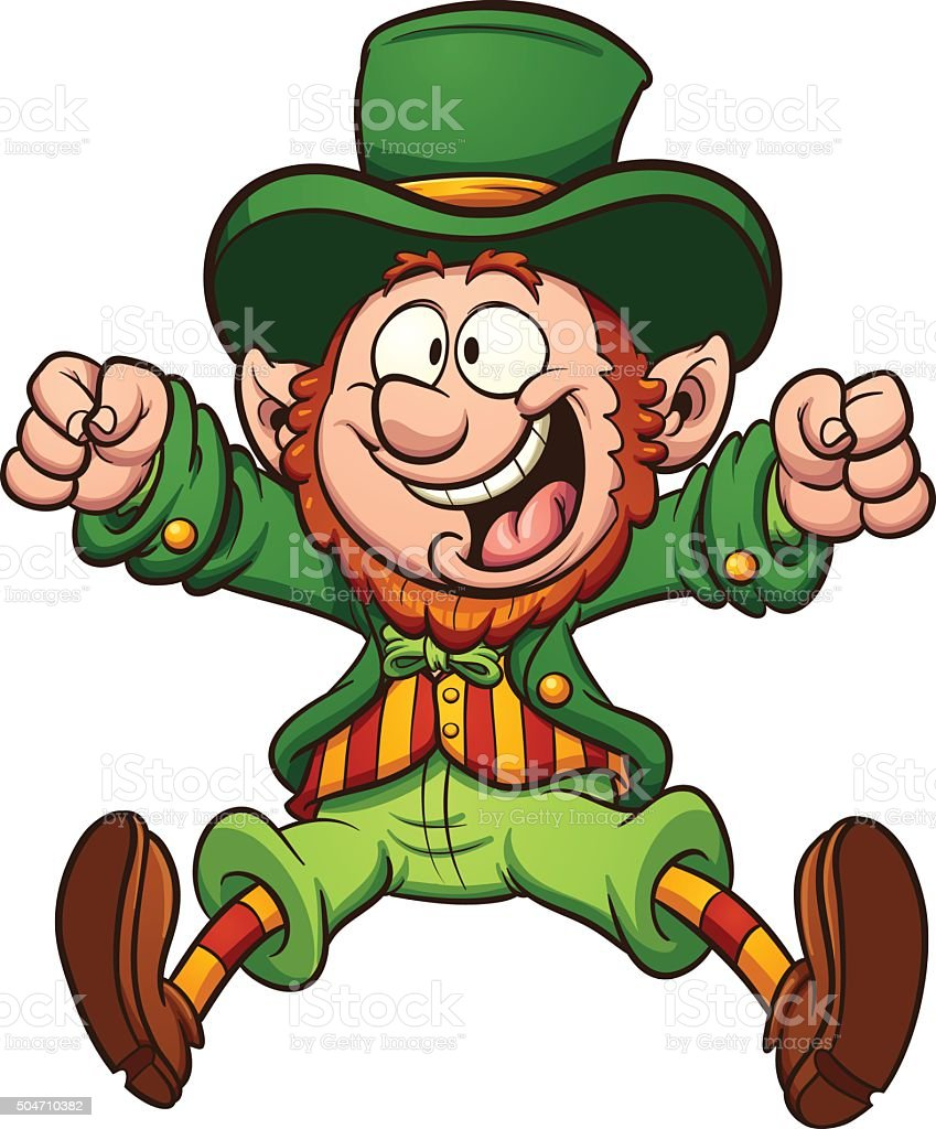 Happy cartoon leprechaun vector art illustration