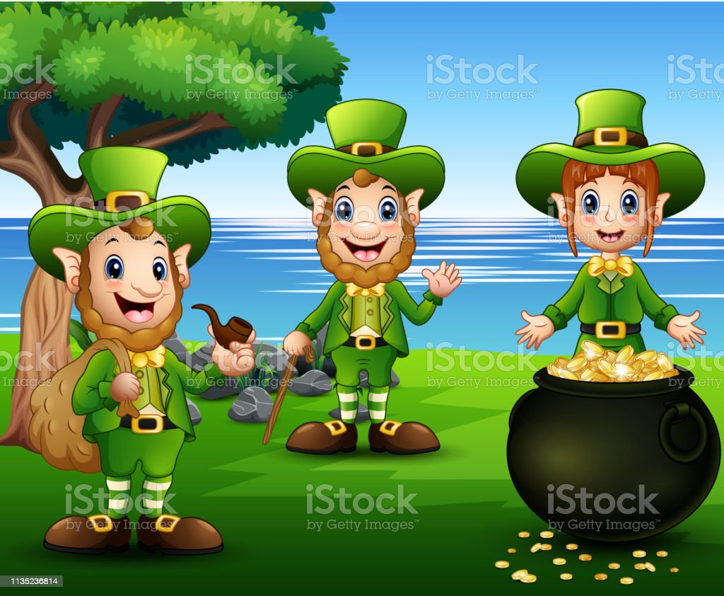 Happy Cartoon Leprechauns With Pot Of Gold Coins Stock ...