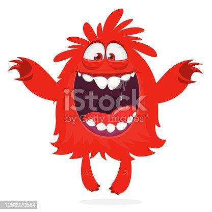 istock Happy cartoon monster character. Halloween vector illustration 1266920584
