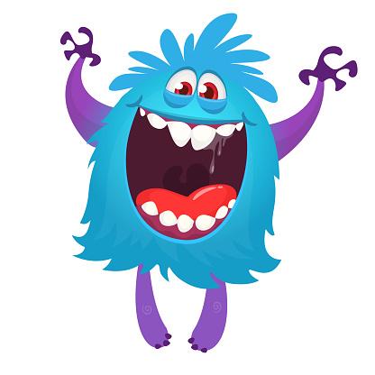 Happy cartoon monster character. Halloween vector illustration