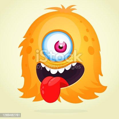 istock Happy cartoon monster character. Halloween vector illustration 1269482761