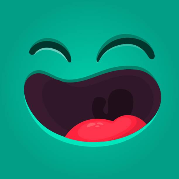 歯のない幸せな漫画モンスター顔。大きな口で笑っているモンスターをハロウィーンをベクトルします。 - 漫画のモンスター点のイラスト素材/クリップアート素材/マンガ素材/アイコン素材
