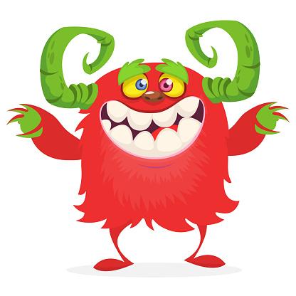 Happy cartoon monster. Halloween vector illustration isolated
