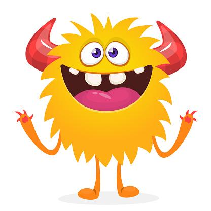 Happy cartoon monster. Halloween vector illustration of funny monster creature