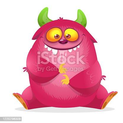 Happy cartoon monster. Laughing monster face emotion. Halloween vector illustration