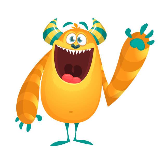Glücklich Cartoon Monster präsentiert. Vektor Halloween monster – Vektorgrafik