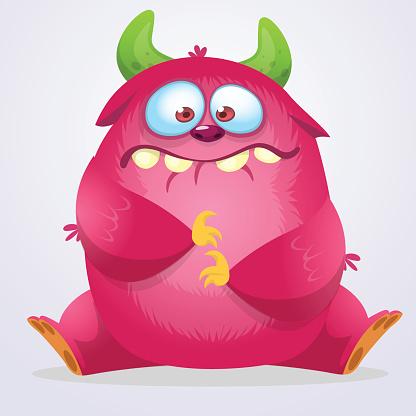 Happy cartoon monster. Vector Halloween pink furry monster. Toy design