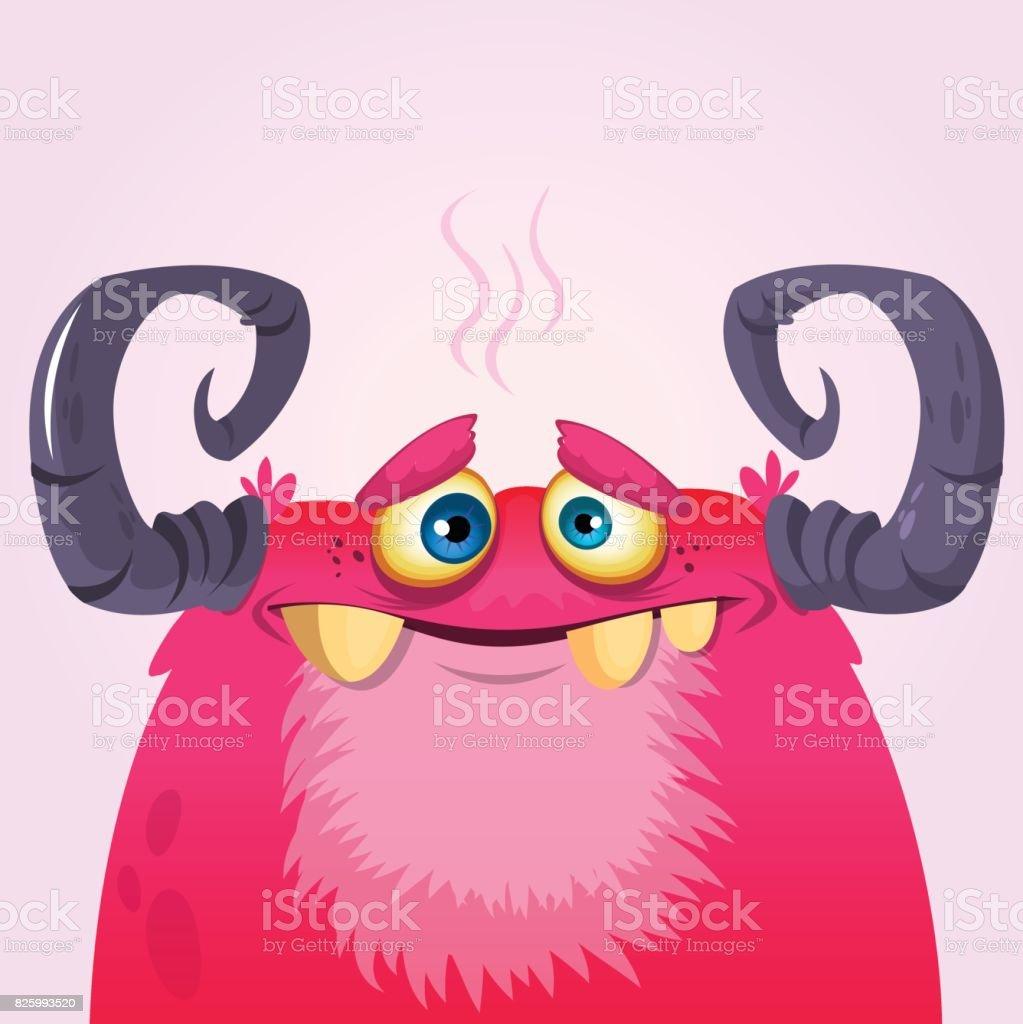 Happy cartoon monster. Vector Halloween pink furry monster troll vector art illustration