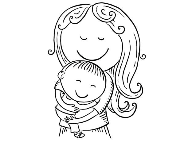 Happy cartoon mother with children, vector illustration vector art illustration