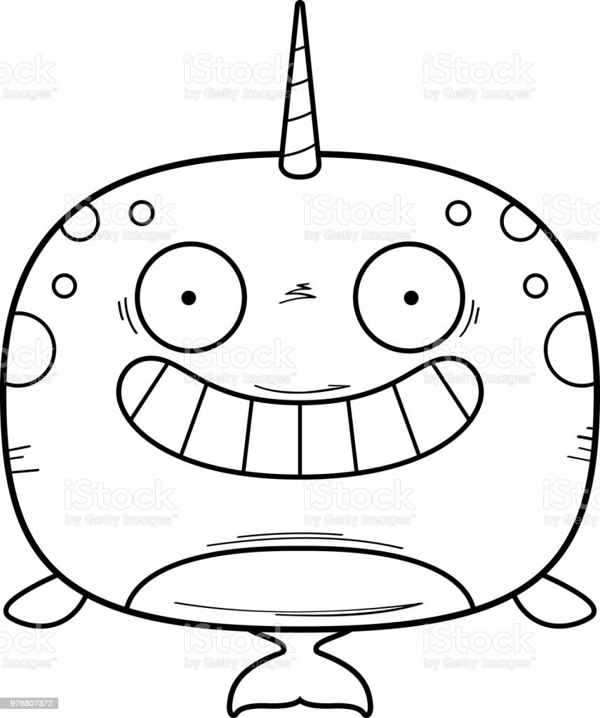 Happy Cartoon Narwhal vector art illustration