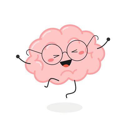 Happy cartoon nerd brain jumping for joy